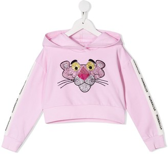 MonnaLisa pink panther crystal embellished hoodie