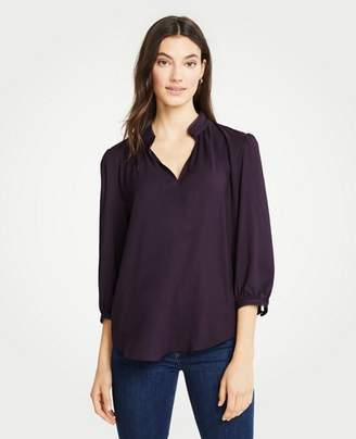 Ann Taylor Scalloped Split Neck Blouse