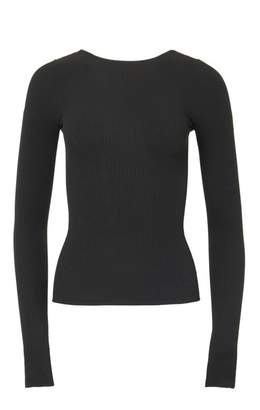 Tibi Scoop Lace Up Back Ribbed Sweater