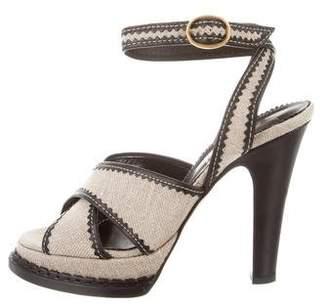 Saint Laurent Canvas High-Heel Sandals