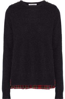 Autumn Cashmere Checked Cotton Twill-Paneled Cashmere Sweater