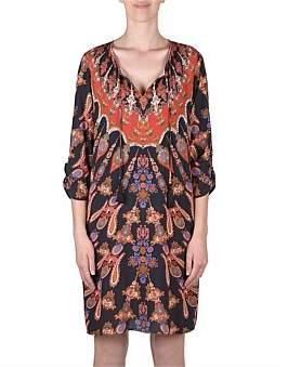 Jump 3/4 Sleeve Placement Print Dress