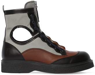 4145bfac98 Lanvin 40mm Leather   Canvas Zip-Up Boots