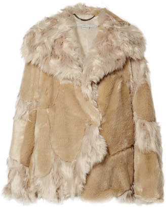 Stella McCartney Oversized Patchwork Faux Fur Coat - Beige