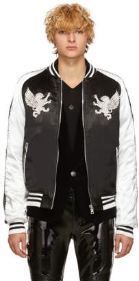 Balmain Black and White Satin Bomber Jacket