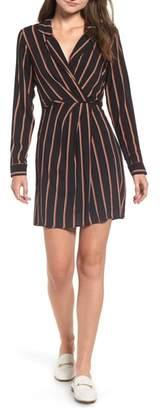 --- Stripe Notch Collar Minidress