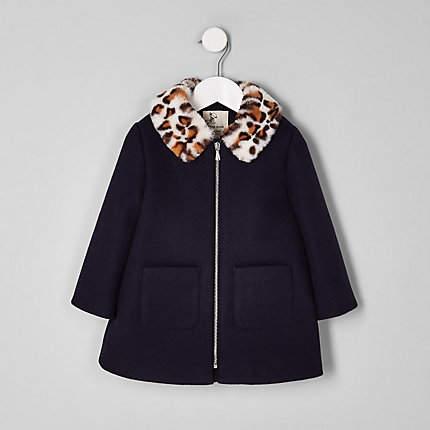 Mini girls Navy leopard print coat