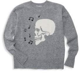 Autumn Cashmere Little Girl's & Girl's Singing Skull Crew Sweater