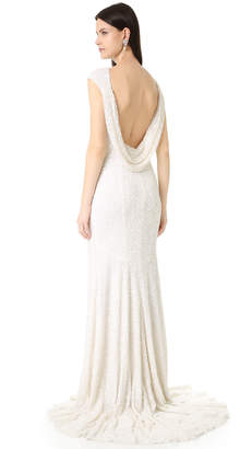 Theia Hayden Cap Sleeve Cowl Back Gown $1,995 thestylecure.com