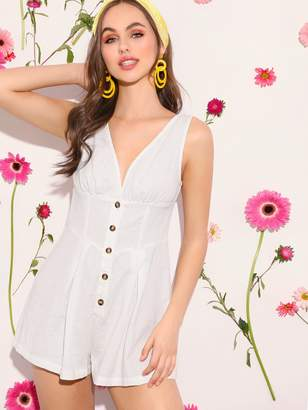 Shein Double V Neck Button Front Romper