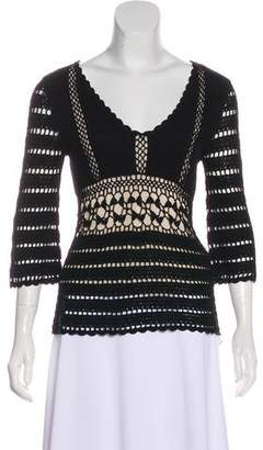 Temperley London Open Knit Three-Quarter Sleeve Top