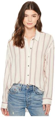 Splendid Sailboat Stripe Button Down Boyfriend Shirt Women's T Shirt
