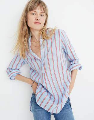 Madewell Wellspring Tunic Popover Shirt in Atwater Stripe