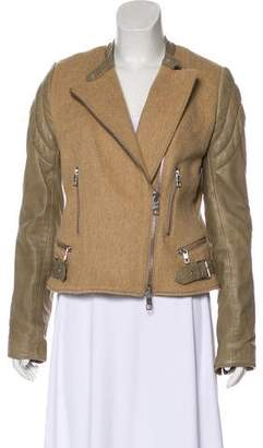 Closed Wool-Blend Leather-Trimmed Jacket