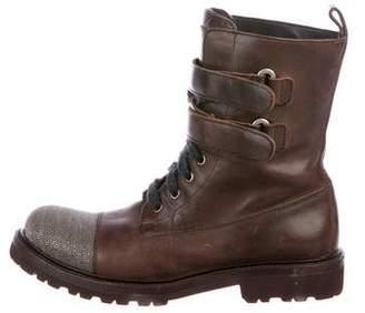 Brunello Cucinelli Monili Cap-Toe Combat Boots