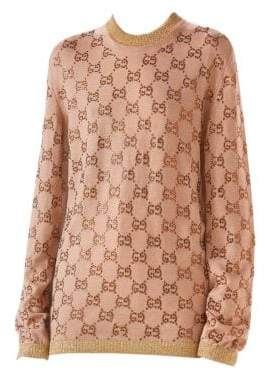 Gucci Long Sleeve Fine Wool GG Crystal Knit Pullover