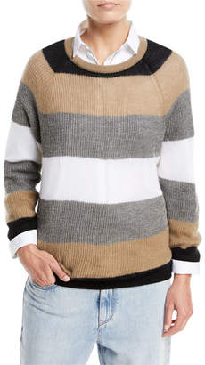 Brunello Cucinelli Ribbed Mohair Rugby-Stripe Long-Sleeve Crewneck Sweater