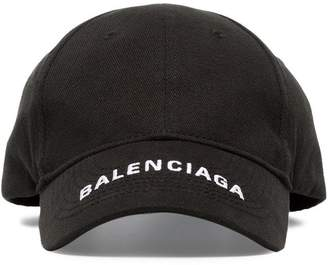 Balenciaga black logo embroidered cotton cap
