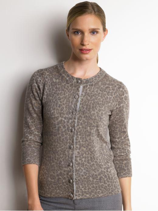 3/4-sleeve animal print cardigan - Charcoal
