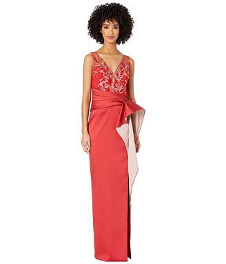 Marchesa Sleeveless Two-Tone Stretch Mikado Column Gown with Asymmetrical Drape and Beaded Bodice