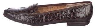 Salvatore Ferragamo Crocodile Penny Loafers