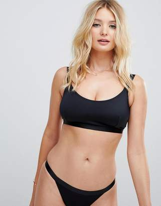 Asos DESIGN fuller bust mix and match elastic trim crop bikini top dd-g