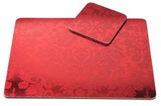 Pimpernel Damask Red Placemats & Coasters, Set Of 4