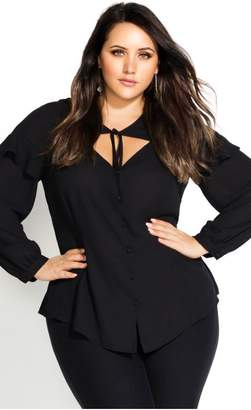 City Chic Citychic Peekaboo Tie Top - black