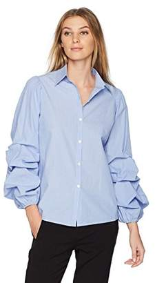 Lark & Ro Women's Woven Shirt with Pintucked Sleeves