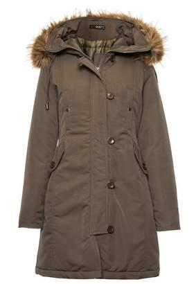 Quiz Khaki Canvas Faux Fur Trim Jacket