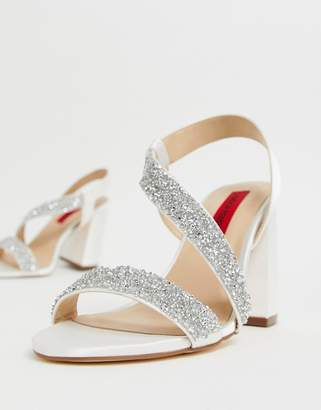 London Rebel bridal barely there embellished block heel sandals