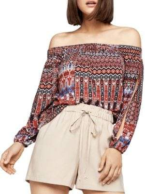 BCBGeneration Conquistador Tapestry Off-The-Shoulder Top