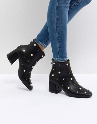 Glamorous Pearl Embellished Heeled Ankle Boots
