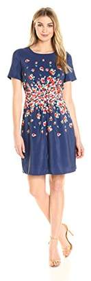 Lark & Ro Women's Short Sleeve Center-Gather Fit and Flare Dress