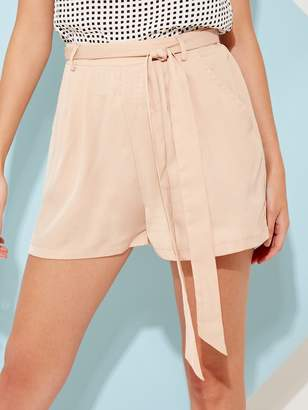 Shein Tie Waist Slant Pocket Shorts
