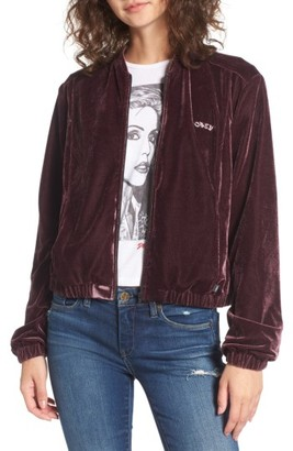 Women's Obey Sabre Embroidered Velvet Jacket $99 thestylecure.com