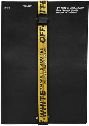 Off-White Leather Document Folder W/ Webbing Band