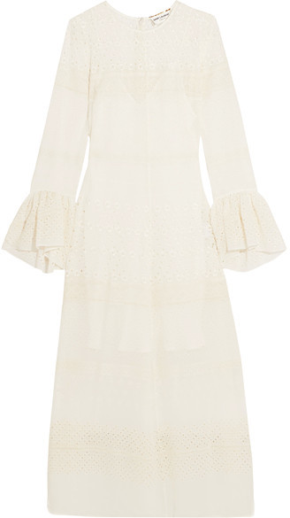 Saint LaurentSaint Laurent - Ruffled Broderie Anglaise Georgette Midi Dress - White
