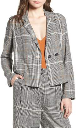 BP Plaid Linen Blend Blazer