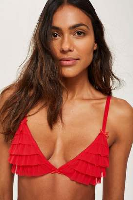 Topshop Red Frill Triangle Bikini Bra