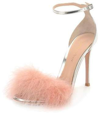 Gianvito Rossi Marabou Metallic Feather Sandals