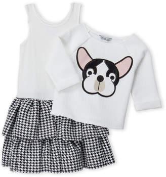 Pippa & Julie (Girls 4-6x) Two-Piece Bulldog Sweater & Houndstooth Dress Set