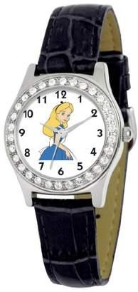 EWatchFactory Disney Women's D1503S005 Queen Collection Alice in Wonderland Black Leather Strap Watch