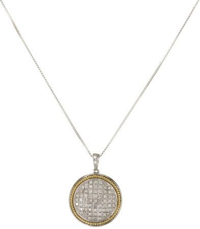 Gold Over Sterling Silver With 0.15Cttw Diamond Pendant Chain- 18