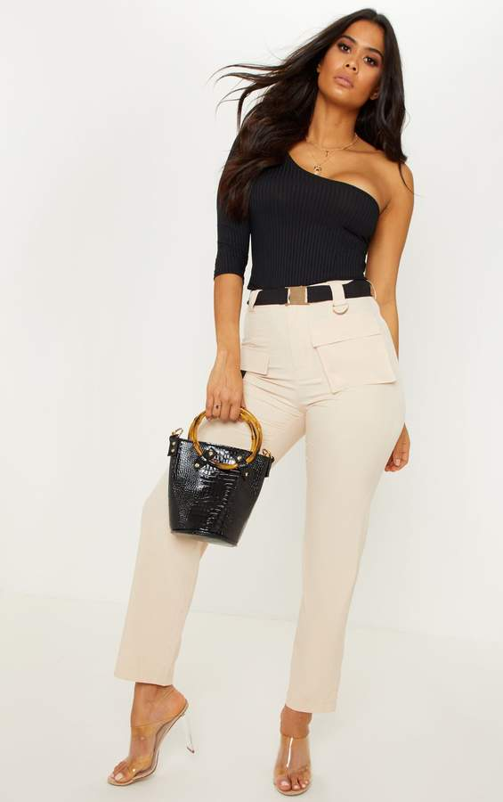Stone Belted Waist Cargo Pocket Front Trouser
