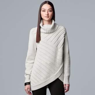 Vera Wang Women's Simply Vera Crossover-Hem Lurex Cowlneck Sweater