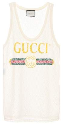Gucci Printed lace tank top