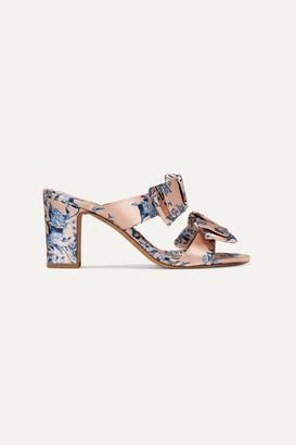 Tabitha Simmons + Johanna Ortiz Barbi Bow-embellished Floral-print Satin Mules - Pink