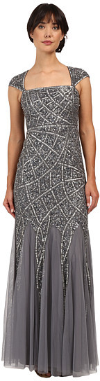 Adrianna Papell Adrianna Papell Cap Sleeve Envelope Beaded Gown