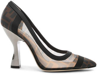 Fendi Colibri Mesh Logo Pumps in Black & Brown | FWRD